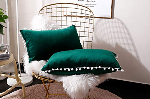 Fabthing Throw Pillows Covers Cushion Covers Velvet Solid Color Ball Soft Sofa Chair Home Decorative Set of 2,12x20 Inch Dark Green
