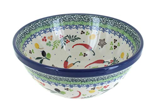 Blue Rose Polish Pottery Red Chili Pepper Cereal/Soup Bowl