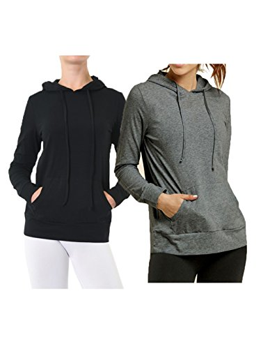 Sofra Teejoy Women's Thin Cotton Pullover Hoodie Sweater (M, 2Pack-Blk&Charcoal) Blk Hoodie