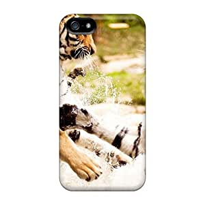 phone covers New Starting Scratch-free Phone Case For iPhone 5c- Retail Packaging - Two Tigers Playing