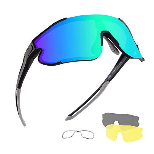 Sportzonnebril Fietsbril Gepolariseerde UV400-bescherming, met 3 wisselglazen voor verschillende weersomstandigheden…