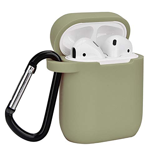 Airpods Case, Coffea AirPods Accessories Shockproof Case Cover Portable & Protective Silicone Skin Cover Case for Apple Airpods Charging Case (Army Green)