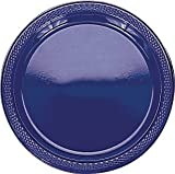 navy plastic ware - Amscan Reusable Round Plastic Dinner Plates Tableware Saver Pack Party Supplies (200 Piece), Blue, 10""