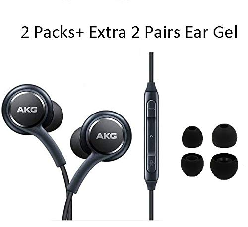 in Ear Stereo Headphones with Microphone Compatible with Samsung Galaxy S10 S10+S9/S9+ S8/S8+ Note8 / Note9 S7 S7 Edge- Earbuds Remote 2 Pack Premium (JL) Extra 4 Ear gels ...