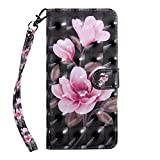 Bear Village® iPhone 6 Case, PU Leather Book Style Cover with Card Slots, 3D Pattern Design Wallet Flip Case for Apple iPhone 6 / iPhone 6S (#4 Fower)