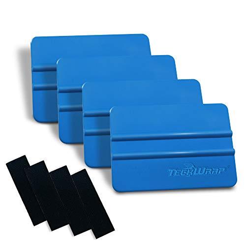 TECKWRAP Plastic Felt Edge Squeegee 4 Inch for Car Vinyl Scraper Decal Applicator Tool 4 pcs (with Black Felt Edge)