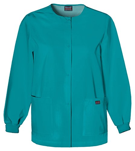 Cherokee Women's Traditional Snap Front Warm-Up Jacket_Teal Blue_XXXX-Large,4350