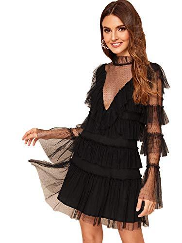 Romwe Women's Dot Mesh Ruffle Sexy Club Top Long Sleeve Party Mini Dress Black L