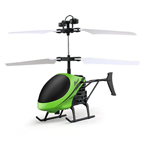 Leegor Mini RC Infraed Induction Helicopter Aircraft Flashing Light Electric Flying Toys For Kids USB Charged Airplanes Birthday Present Christmas Gift (Green)