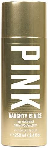 Victoria's Secret PIink Naughty Is Nice All Over Mist 8.4 Ounce Spray Gold Holiday Fragrance Collection