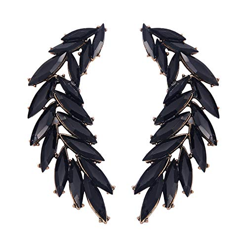 Stylebar Leaf Retro Drop Earrings for Women Girls Black Crystal Marquise Vine Dangling Angel Wing Dangle Cluster Earrings Vintage Gold-tone