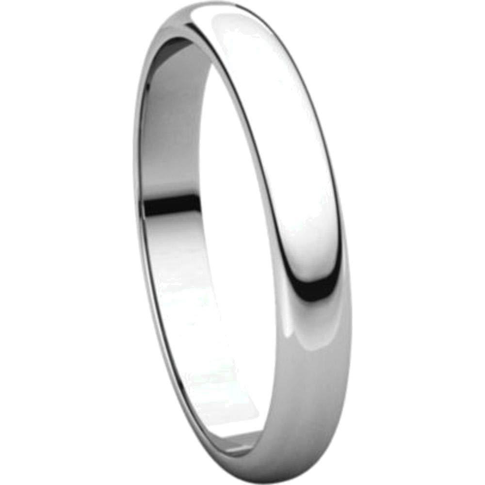 Bonyak Jewelry 14k White Gold 3 mm Half Round Band Size 11