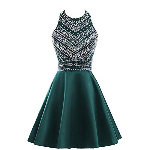 Dress Teal Homecoming (HEIMO Women's Sparkly Beaded Homecoming Dresses Sequined Prom Gowns Short H212 16 Teal)