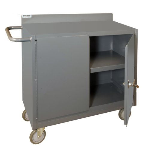 Durham 16 Gauge Welded Steel Mobile Bench Cabinet with Lockable Storage Compartment, 2210-95, 1 Shelf (Picking Trucks Stock)
