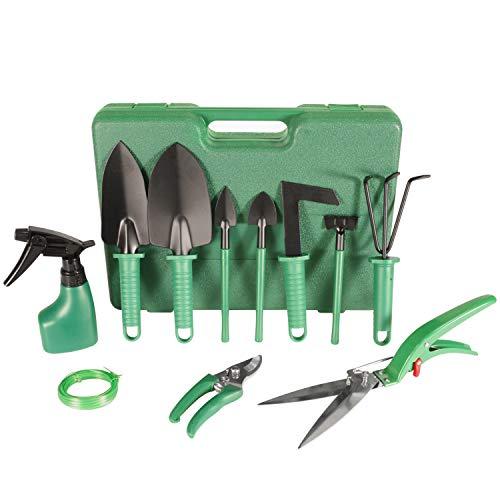 Hon&Guan Garden Tools Set, 12 Piece Green Gardening Gifts Stainless Steel Garden Tool Set with Storage Case -Garden…