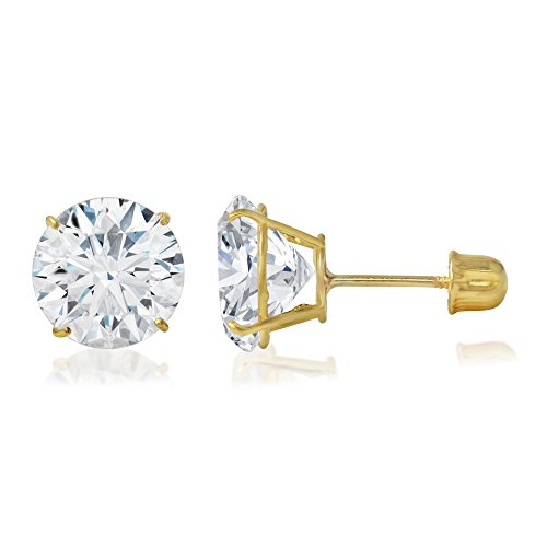 Ioka - 14K Yellow OR White Gold Round Solitaire Cubic Zirconia CZ Stud Screw Back Earrings in Various Sizes