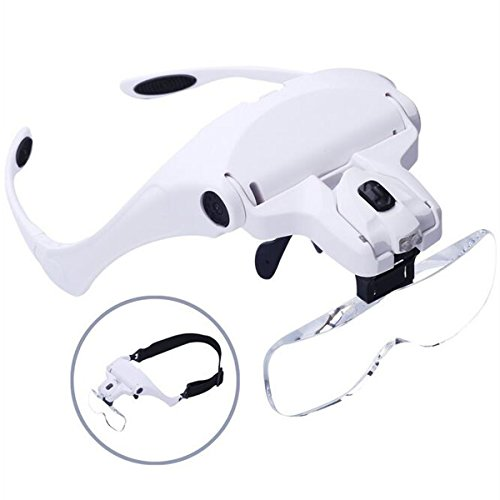 Head Magnifier Glasses, Head Mount Magnifying Glasses with Light for Reading Professional Headband Magnifier Handsfree for Jewelers, Crafts, Watch, Circuit Repair, Hobby, 1.0X,1.5X,2.0X,2.5X,3.5X]()