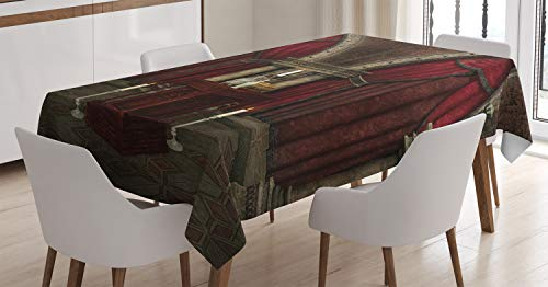 Ambesonne Gothic Tablecloth, Mysterious Dark Room in Castle Pillars Candles Atmosphere Pattern, Dining Room Kitchen Rectangular Table Cover, 60