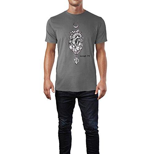 SINUS ART® Herz aus Stein mit Monden und Edelsteinen Herren T-Shirts in Grau Charocoal Fun Shirt mit tollen Aufdruck