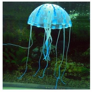 Decoración Acuario Pecera Estanque Medusa Azul Plástico Suave 5.5