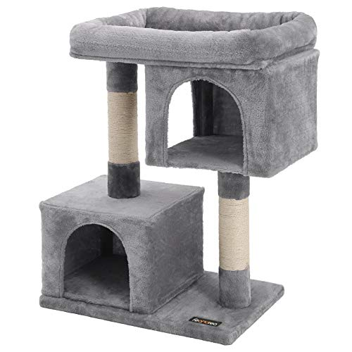 feandrea Cat Tree with Sisal-Covered Scratching Posts and 2 Plush Condos Cat Furniture for Kittens Light Gray UPCT61W