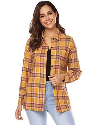 URRU Women's Tartan Flannel Plaid Shirts Roll Up Long Sleeve Casual Button Down Checkered Cotton Shirt Tops Yellow M