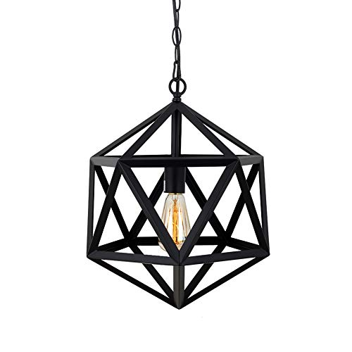- T&A Industrial Geometric Pendant Light,Modern Polygon Matte Cage Hanging Light Fixture for Metal