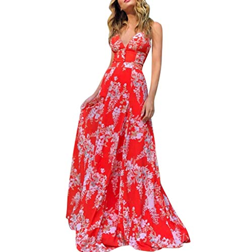 Weiliru Women's Tropical Floral Print Pleated Tunic V Neck Wedding Maxi Dress Suspender Dress Beach Dress Red]()