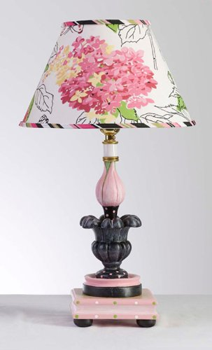 Pink and Black Handcrafted Tulip Lamp With Decorative Floral Shade – Made in the USA