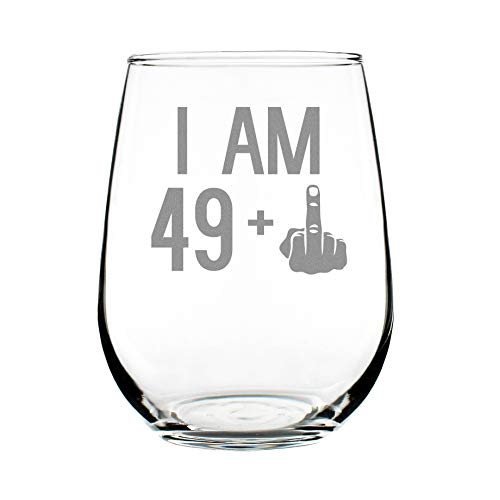 49 + One Middle Finger | 50th Birthday Stemless Wine Glass for Women & Men | Cute Funny Wine Gift Idea | Unique Personalized Bday Glasses for Best Friend Turning 50 | Drinking Party Decoration