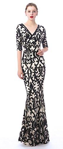 Beaded Evening Gown (Risestaryiding Women Half Sleeve Beaded Sequins Evening Dress Mermaid V Neck Party Dress (Black&Apricot, 10))