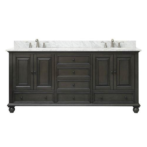 Avanity Thompson 73 in. Double Sink Vanity Combo in Charcoal Glaze finish with Carrera White Top (Carrera Marble Vanity Top With Sink)