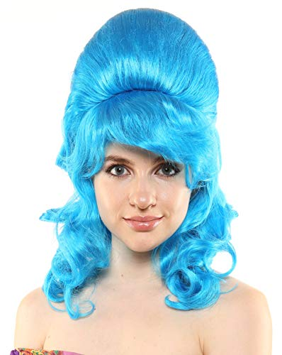 Premium Quality 1960's Beehive Wig with Natural Curls (Blue) ()