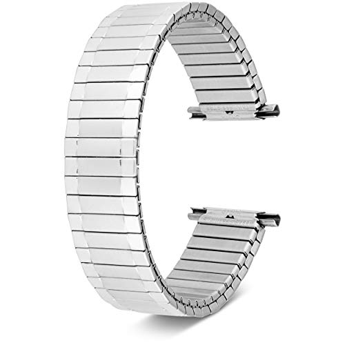 Men's Stainless Steel Stretch Watch Band, Flex Radial Expansion Replacement Strap, 16-22 mm (Silver)
