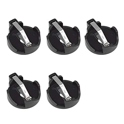 uxcell 5pcs CR2032 CR2025 CR2016 Horizontal Coin Button Battery Holder Black Container Case