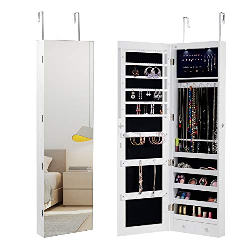 Giantex Wall Door Jewelry Armoire Cabinet with Mirror, 2 LED Lights Auto-On Large Storage Wide Mirrored 1 Scarf Rod 36 Hooks 1 Makeup Pouch Organizer for Bedroom, Jewelry Amoires w/ 2 Drawers (White) ()
