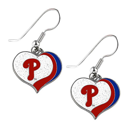 - Philadelphia Phillies MLB Sports Team Logo Glitter Heart Earring Swirl Charm Set