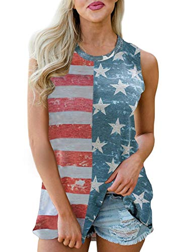 Spadehill July 4th Womens Cotton Summer Sleeveless Tunic Patriotic Swing Loose Tank Tops with Pocket American Flag XL