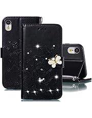 JJWYD Funda para iPhone XR, Brillo Billetera Libro PU Cuero Bling Diamante Mariposa Diseño Carcasa Soporte Plegable Ranuras para Tarjetas Cierre Magnético Funda - Negro