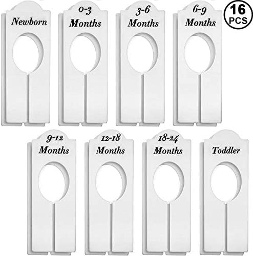 6 Pieces Clothing Rack Nursery Closet Dividers Kids Plastic Closet Organisers with 0-3 Months to 18-24 Months Baby Wardrobe Dividers Set