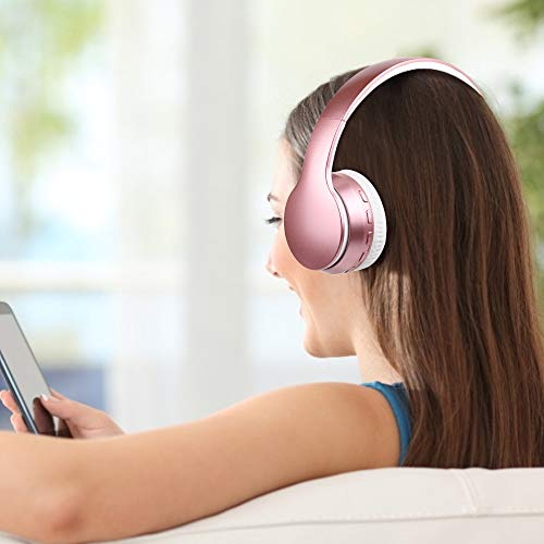 Lobkin Over Ear Headphones with Microphone, Stereo Hi-Fi Sound, FM Radio TF Foldable Portable Headsets for TV/Travel/Home/Office/Class/Business Wireless Headphones (Pink)