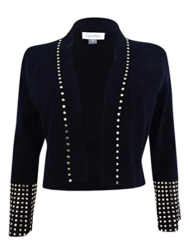 Calvin Klein Women's Studded Bell-Sleeve Shrug (M, Black)