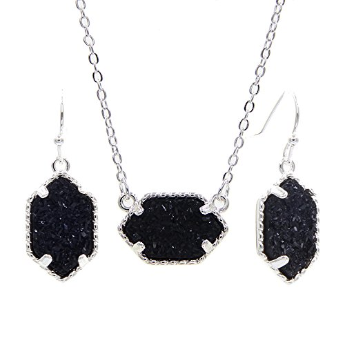 (YUJIAXU Framed Oval Faux Druzy Chic Choker Necklace + Drop Earrings Jewelry Set Women's Super (Silver Black))