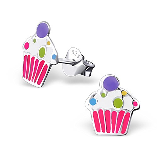 925 Sterling Silver Hypoallergenic Cupcake Stud Earrings for Girls 17678 - Sterling Silver Childs Cup
