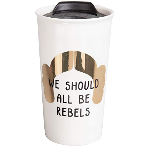 Star Wars Princess Leia Ceramic Travel Tumbler Mug - Metallic Hair Design with We Should All Be Rebels Quote - 16 oz