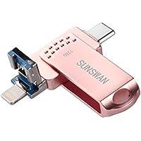 sunswan USB 128GB Flash Drives USB 3.0 Memory Stick 3in1...