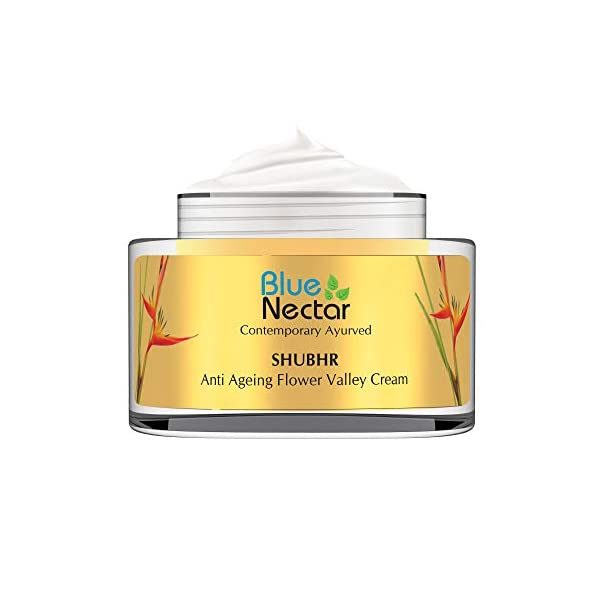 Blue Nectar Anti Ageing Flower Valley Face Cream for Oily Skin Ayurvedic with No Parabens SLS or Mineral Oil (Men, 50 gm… 2021 July Finally a potent Anti Ageing Cream formulated for men to rejuvenate skin naturally for a youthful feel of skin that reinforces skin's ability to fight visible signs of ageing. NATURAL ACTIVE INGREDIENTS: Saffron, Manjishtha, Aloe Vera, Vitamin E - traditionally believed to have skin firming properties Hedonistic aroma derived from various natural organic flower extracts. FOR ALL SKIN TYPES: Unique blend of natural oils like Almond Oil, Wheatgerm Oil and Plum Oil naturally bolsters the natural suppleness of the skin, and helps fortify skin's firmness creating a youthful effect on the skin. Works well even with Oily Skin.