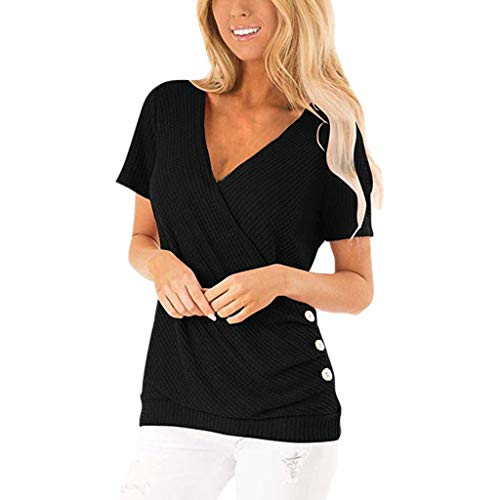 CHAELAKES Women's V Neck Short Sleeve Blouse Tops Ladies Summer Casual Loose Button Tunic Top Tee Shirts Black