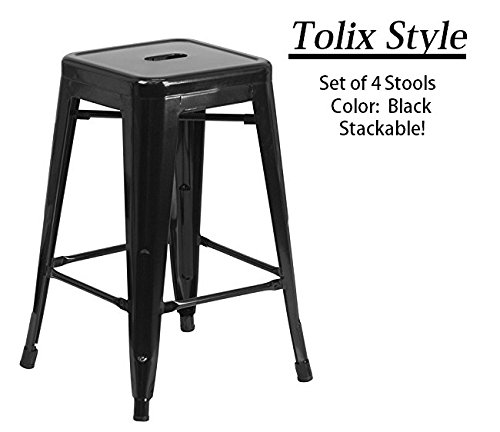 Stools,! (BLACK) [Set Of 4] Stackable, Indoor/Outdoor, Kitchen Bar Stools,! 350LB Limit, Metal Bar Stools! Industrial, Galvanized Steel, Bar Stools! (Antique Walnut 24 Inch Saddle Stool)