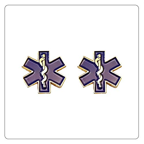 (Star of Life Collar Gold Lapel Pin Set of 2 SOL EMT Paramedic Medical EMS - A 72)